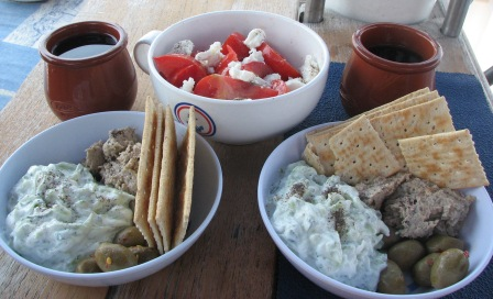 we make our own tzatziki and abuergine dip