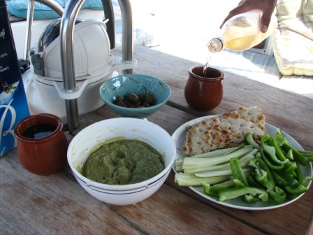 Another sort of lunch - guacamole and stuff to dip it into