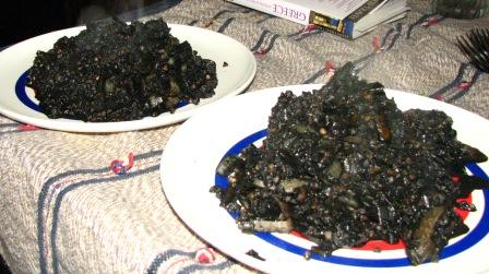 Black black risotto (Gregor caught cuttlefish)