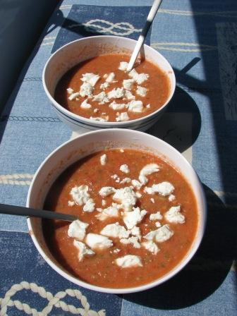 Super refreshin lunch - gazpacho. If you can't get really good tomatoes, use the canned ones!