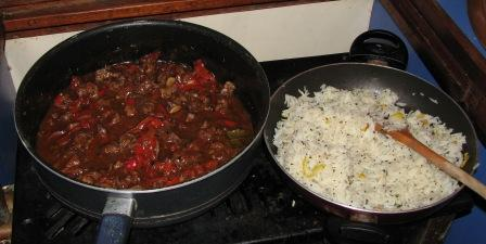 Lamb in red wine and red pepper sauce with spicy lemon rice.