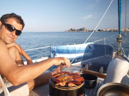 Cobb grill is one of the best equipments we bought for our boat (and it worked on the home balcony as well!)