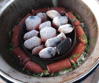 Or once we put greek country sausage with wine, garlic and parsley to be cooked in that